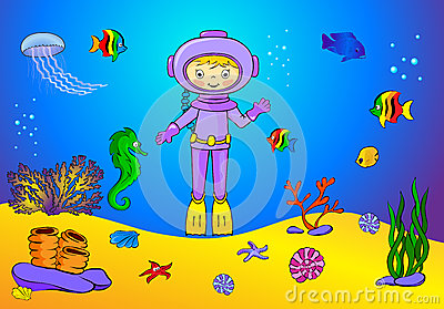 Stock Illustration Cute Cartoon Scuba Diver Fish Under Water Seahorse ...