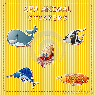 Free Cute Cartoon Sea Animals On Sticker Stock Photos - 123867943