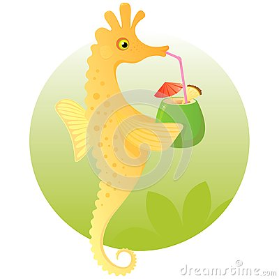 Cute cartoon seahorse enjoying a cocktail