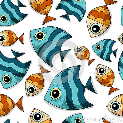 Cute cartoon seamless vector pattern with colored sea fishes. Vector Illustration