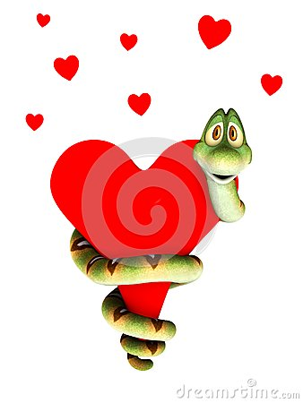 Cartoon snake in love, cuddling a heart.