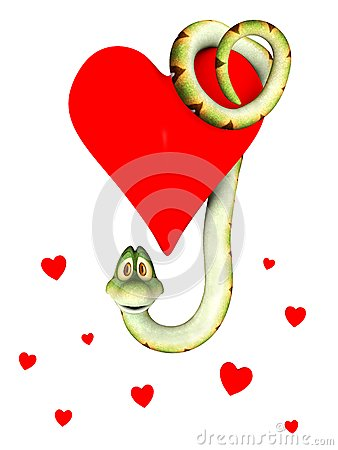 Cartoon snake in love, hanging from a heart.