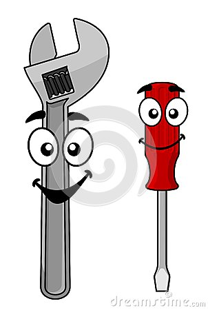 Cute Cartoon Spanner And Driver Stock Vector Image 40250302