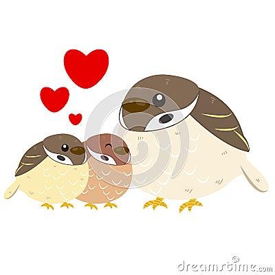 Cute sparrow family