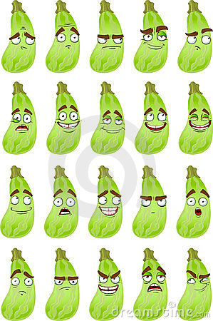Cute cartoon squash smile with many expressions