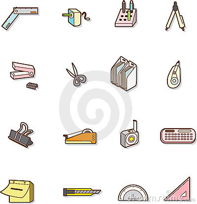Cute cartoon stationery Editorial Stock Image