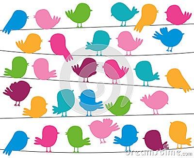 Cute Cartoon Style Bird Silhouettes in Vector Format Vector Illustration