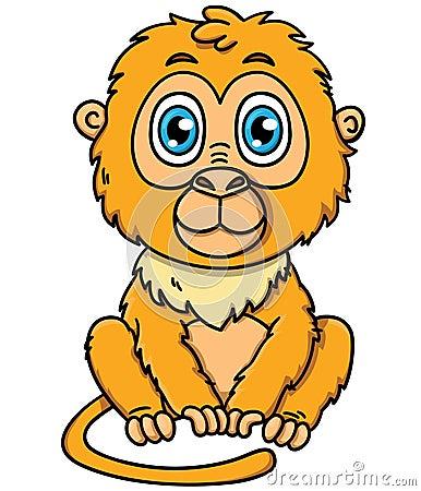 Cute cartoon tamarin monkey