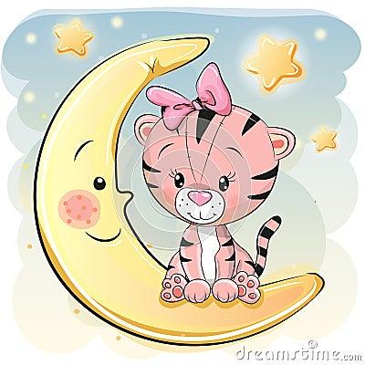 Free Cute Cartoon Tiger On The Moon Royalty Free Stock Photo - 96032025