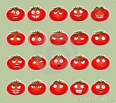 Cute cartoon tomato smile with many expressions ic