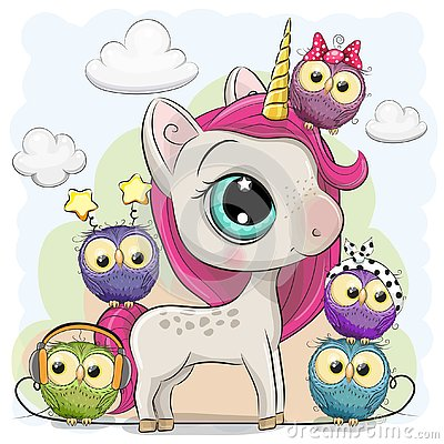 Cute Cartoon Unicorn and five owls Vector Illustration