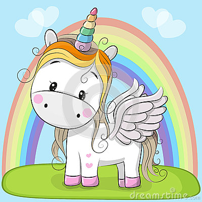 Cute Cartoon Unicorn on the meadow Vector Illustration
