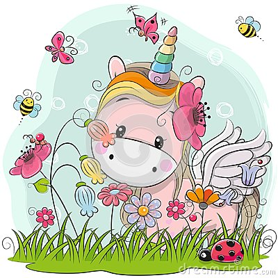 Free Cute Cartoon Unicorn On A Meadow Royalty Free Stock Image - 99294496