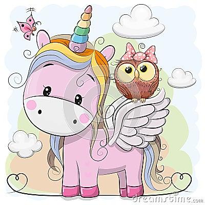 Cute Cartoon Unicorn and owl Vector Illustration