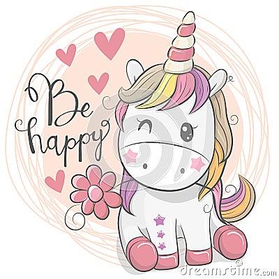 Free Cute Cartoon Unicorn With Flower Royalty Free Stock Image - 122300736