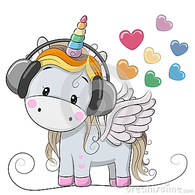 Free Cute Cartoon Unicorn With Headphones Royalty Free Stock Images - 90293649