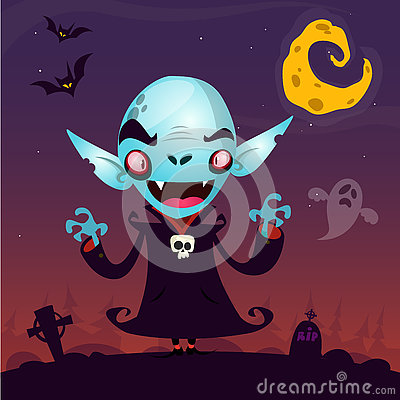 Free Cute Cartoon Vampire. Halloween Vampire Character  On Dark Background Fith Cemetery, Ghost And Moon Royalty Free Stock Photo - 77467135