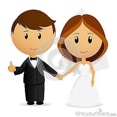 Free Cute Cartoon Wedding Couple Royalty Free Stock Photography - 19542167