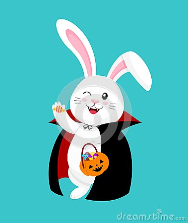 Free Cute Cartoon White Rabbit In Dracula Suit Happy Halloween Day. Stock Image - 124448541