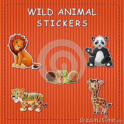 Free Cute Cartoon Wild Animals On Sticker Stock Images - 123868114