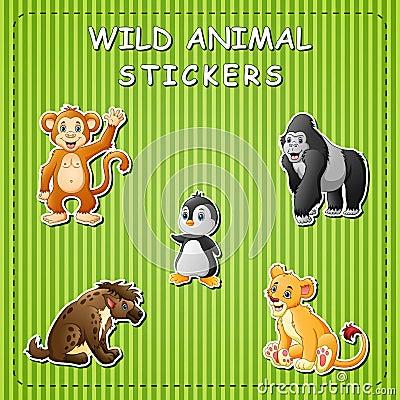 Free Cute Cartoon Wild Animals On Sticker Stock Photos - 123868133