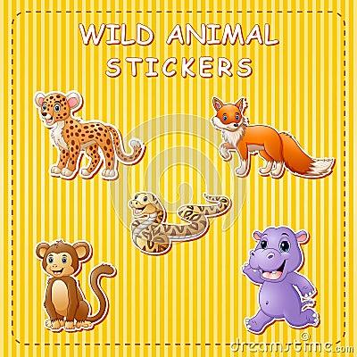 Free Cute Cartoon Wild Animals On Sticker Stock Images - 123868144