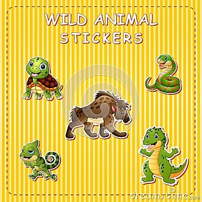 Free Cute Cartoon Wild Animals On Sticker Stock Photography - 123868152