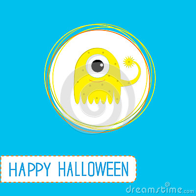 Cute cartoon yellow monster. Blue background. Happ