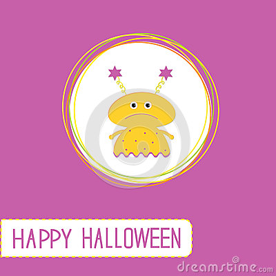Cute cartoon yellow monster girl. Violet backgroun