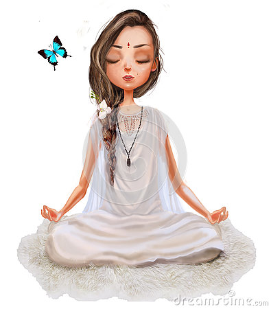 Free Cute Cartoon Yoga Girl Stock Images - 79920404