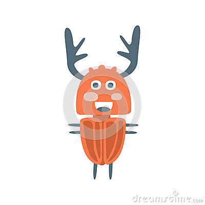 Cute cartton deer beetle, colorful character vector Illustration Vector Illustration