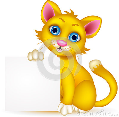 Cute cat cartoon with blank sign