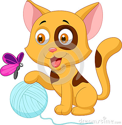 Free Cute Cat Cartoon Playing With Ball Of Yarn And Butterfly Royalty Free Stock Photos - 33992578
