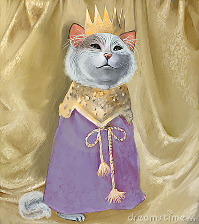 Cute cat in crown and royal robes