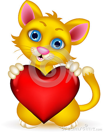 Cute Cat holding heart love