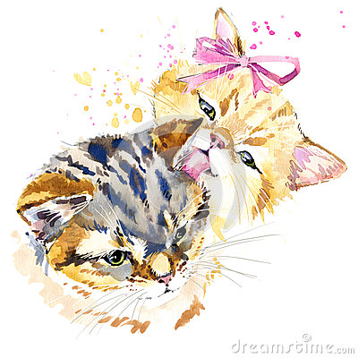 Cute cat T-shirt graphics, watercolor cat family illustration Cartoon Illustration