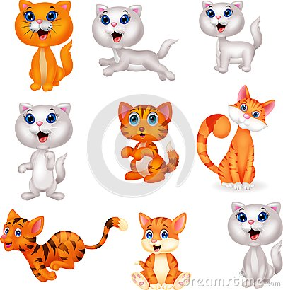 Free Cute Cats Cartoon Collection Set Stock Image - 123696771