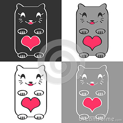 Cute cats with hearts