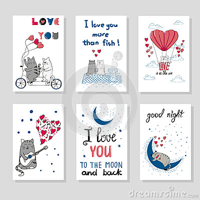 Free Cute Cats In Love. Set Of Romantic Card Stock Photo - 71911400