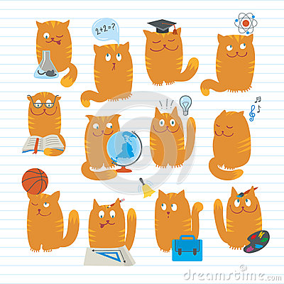Cute Cats Studying School Subjects