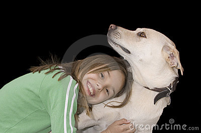 Cute caucasian girl with her dog