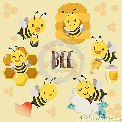 Cute character bee , hive of bee , honey bee , bee sleeping on flower Vector Illustration