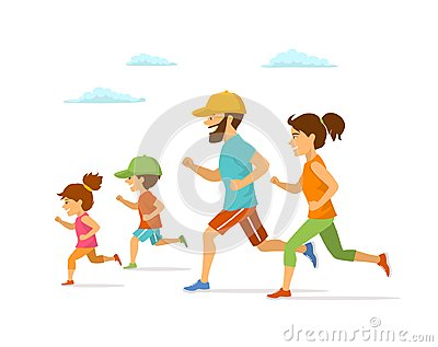 Cute cheerful cartoon family running jogging together isolated vector illustration outdoor exercising i Vector Illustration