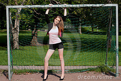 Cute cheerleader in goal