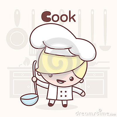 Free Cute Chibi Kawaii Characters. Alphabet Professions. Letter C - Cook. Royalty Free Stock Photo - 92340945