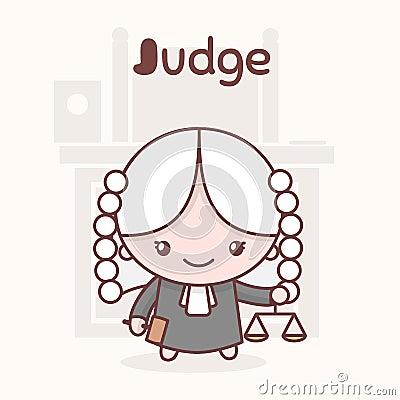 Free Cute Chibi Kawaii Characters. Alphabet Professions. Letter J - Judge. Royalty Free Stock Photo - 92341085