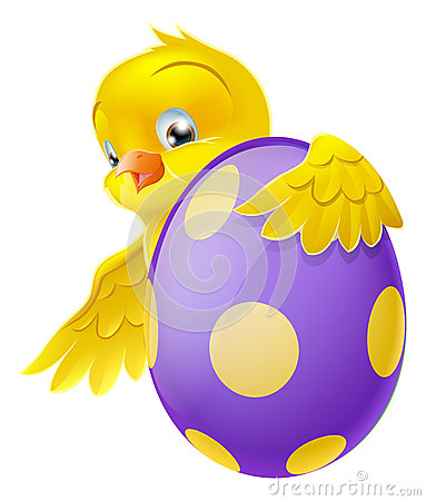 Free Cute Chick And Painted Chocolate Easter Egg Stock Images - 28890884