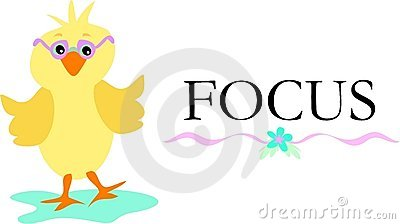 Cute Chick with Glasses and the Word Focus