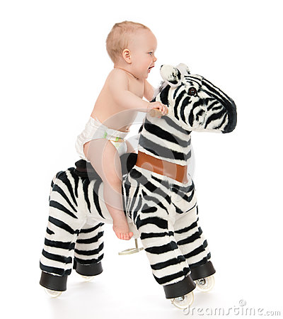 Cute child baby toddler sit and ride big zebra horse toy