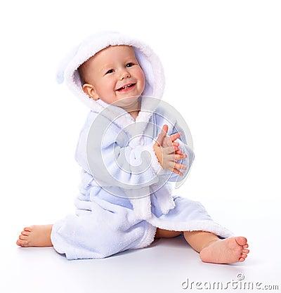 Cute child in bathrobe